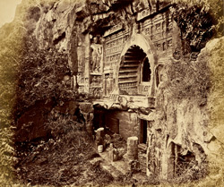 View from the right of façade of Buddhist chaitya hall, Cave XXVI, Ajanta